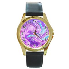 Abstract Art Texture Form Pattern Round Gold Metal Watch