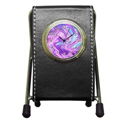 Abstract Art Texture Form Pattern Pen Holder Desk Clocks