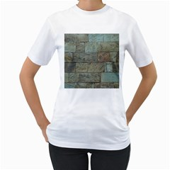 Wall Stone Granite Brick Solid Women s T Shirt (white) (two Sided)