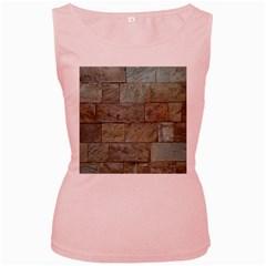 Wall Stone Granite Brick Solid Women s Pink Tank Top