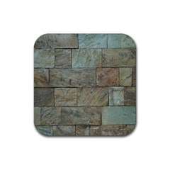 Wall Stone Granite Brick Solid Rubber Coaster (square)  by Nexatart