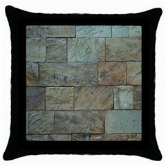 Wall Stone Granite Brick Solid Throw Pillow Case (black) by Nexatart