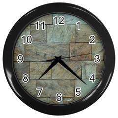 Wall Stone Granite Brick Solid Wall Clocks (black)