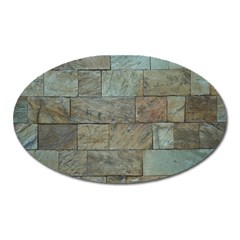 Wall Stone Granite Brick Solid Oval Magnet by Nexatart