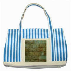 Wall Stone Granite Brick Solid Striped Blue Tote Bag