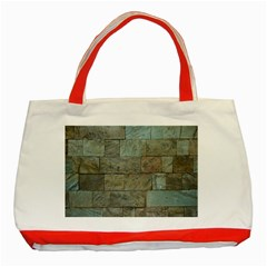 Wall Stone Granite Brick Solid Classic Tote Bag (red) by Nexatart
