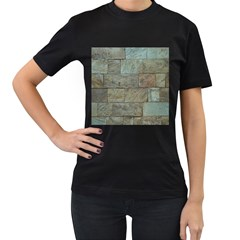 Wall Stone Granite Brick Solid Women s T Shirt (black)