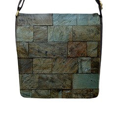 Wall Stone Granite Brick Solid Flap Messenger Bag (l)
