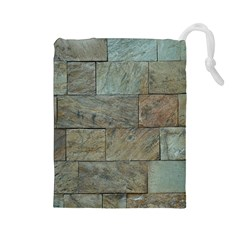 Wall Stone Granite Brick Solid Drawstring Pouches (large)