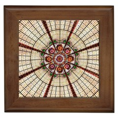 Pattern Round Abstract Geometric Framed Tiles