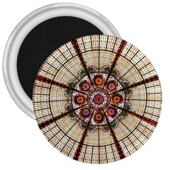 Pattern Round Abstract Geometric 3  Magnets