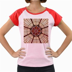 Pattern Round Abstract Geometric Women s Cap Sleeve T Shirt