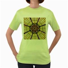Pattern Round Abstract Geometric Women s Green T Shirt