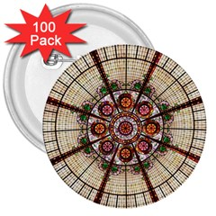 Pattern Round Abstract Geometric 3  Buttons (100 Pack)