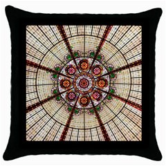 Pattern Round Abstract Geometric Throw Pillow Case (black)