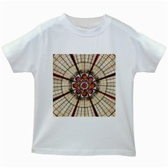 Pattern Round Abstract Geometric Kids White T Shirts
