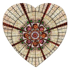 Pattern Round Abstract Geometric Jigsaw Puzzle (heart)