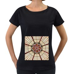 Pattern Round Abstract Geometric Women s Loose Fit T Shirt (black)