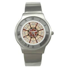 Pattern Round Abstract Geometric Stainless Steel Watch
