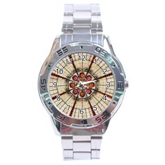 Pattern Round Abstract Geometric Stainless Steel Analogue Watch