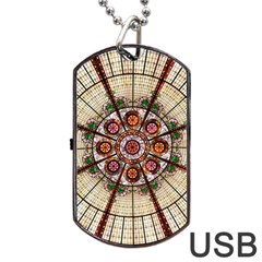 Pattern Round Abstract Geometric Dog Tag Usb Flash (two Sides)