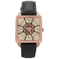 Pattern Round Abstract Geometric Rose Gold Leather Watch