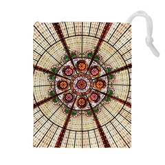Pattern Round Abstract Geometric Drawstring Pouches (extra Large)