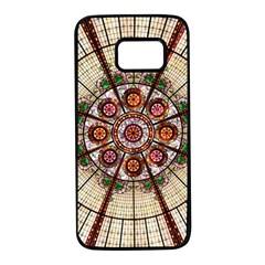 Pattern Round Abstract Geometric Samsung Galaxy S7 Black Seamless Case
