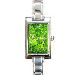 Green Wood The Leaves Twig Leaf Texture Rectangle Italian Charm Watch