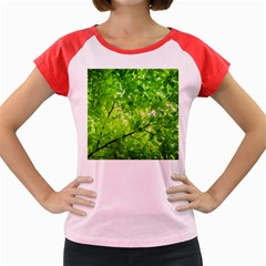 Green Wood The Leaves Twig Leaf Texture Women s Cap Sleeve T Shirt
