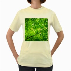 Green Wood The Leaves Twig Leaf Texture Women s Yellow T Shirt