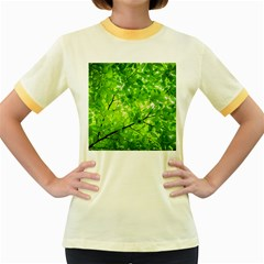 Green Wood The Leaves Twig Leaf Texture Women s Fitted Ringer T Shirts