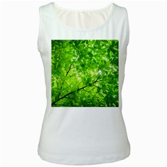Green Wood The Leaves Twig Leaf Texture Women s White Tank Top