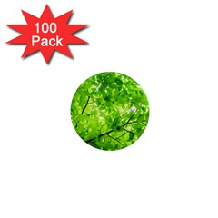 Green Wood The Leaves Twig Leaf Texture 1  Mini Magnets (100 Pack)