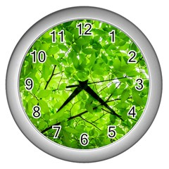 Green Wood The Leaves Twig Leaf Texture Wall Clocks (silver)