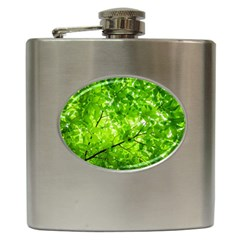Green Wood The Leaves Twig Leaf Texture Hip Flask (6 Oz)