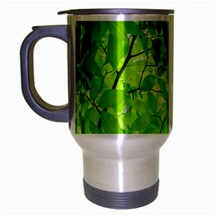 Green Wood The Leaves Twig Leaf Texture Travel Mug (silver Gray)