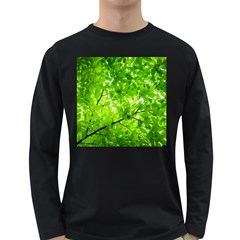 Green Wood The Leaves Twig Leaf Texture Long Sleeve Dark T Shirts