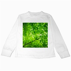 Green Wood The Leaves Twig Leaf Texture Kids Long Sleeve T Shirts
