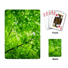 Green Wood The Leaves Twig Leaf Texture Playing Card