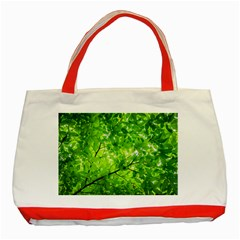 Green Wood The Leaves Twig Leaf Texture Classic Tote Bag (red)