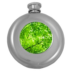 Green Wood The Leaves Twig Leaf Texture Round Hip Flask (5 Oz)