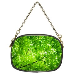 Green Wood The Leaves Twig Leaf Texture Chain Purses (two Sides)