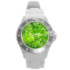 Green Wood The Leaves Twig Leaf Texture Round Plastic Sport Watch (l)