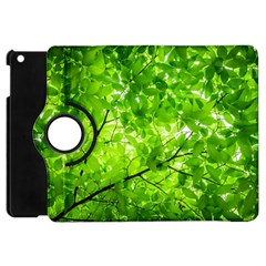 Green Wood The Leaves Twig Leaf Texture Apple Ipad Mini Flip 360 Case by Nexatart