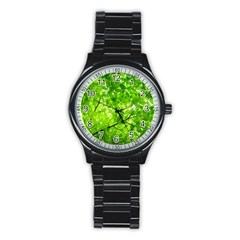 Green Wood The Leaves Twig Leaf Texture Stainless Steel Round Watch
