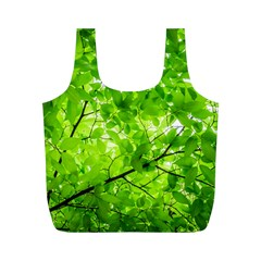 Green Wood The Leaves Twig Leaf Texture Full Print Recycle Bags (m)