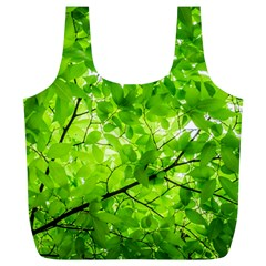 Green Wood The Leaves Twig Leaf Texture Full Print Recycle Bags (l)