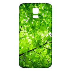 Green Wood The Leaves Twig Leaf Texture Samsung Galaxy S5 Back Case (white)