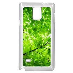Green Wood The Leaves Twig Leaf Texture Samsung Galaxy Note 4 Case (white)